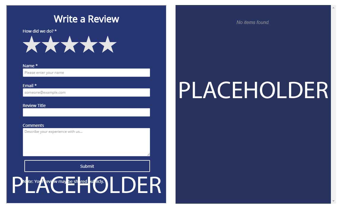 Placeholder reviews